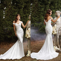 Wholesale Modest Off The Shoulder Mermaid Wedding Dresses Court Train Bridal Gowns Lace Appliqued Satin Lace Up Wedding Dresses