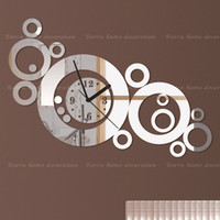 Cheap 2013 new decorative mirror wall clock contemporary style rounds rings