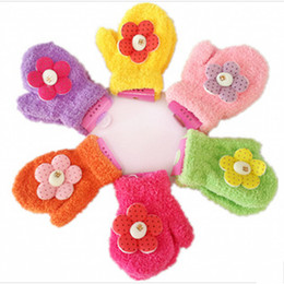Wholesale Hot sale feather yarn glove children full finger gloves baby gloves pairs mixed colors