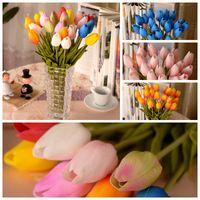 Wholesale Tulip silk artificial flowers pots planters home decorative flowers wedding party decoration flowers wreath holiday supplies