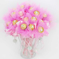 Wedding wedding gifts for guests - 50pcs Wedding Candy Box Rose Flower Design Creative Ferrero Candy Bouquets Wedding Souvenir For Guests Gifts and Favors