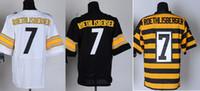 Wholesale 7 Roethlisberge Jersey Elite Football Steelers Jerseys Best quality Authentic Jersey Size M L XL XXL XXXL Accept Mix Order