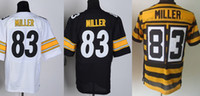 Wholesale 83 Miller Jersey Elite Football Steelers Jerseys Best quality Authentic Jersey Size M L XL XXL XXXL Accept Mix Order