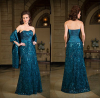Wholesale 2016 Sexy Strapless Plus Size Mother Of The Groom Bride Dresses A Line Sleeveless Lace Sheer Floor Length Formal Evening Gowns K168057