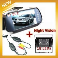 """Cheap Free Shipping HongKong Post, 18LED Night Vision Reversing Camera+7""""LCD Moniter+Adp Wireless Car Rear View KIT"""