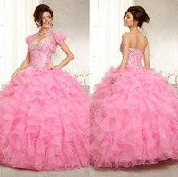 black friday - Beauty Ball Gown Yellow Pink Beading Quinceanera Dresses With Jacket Sweetheart Sleeveless Lace Up Backless Prom Dresses Black Friday