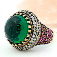 Wholesale Daihe RN4020 Vintage Turkish Multi Gems Amethyst Emerald ebay gemstone rings