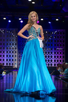 Cheap 2014 Miss USA Halter A-line Beaded Applique Full Length Pageant Dresses For Teen Beautiful Prom Party Dresses