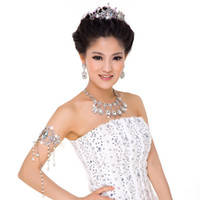 Wholesale Luxury In stock Gorgeous Wedding Crystals and Rhinestones Necklace Tiaras Wedding Bridal Jewelry Sets wedding accessories