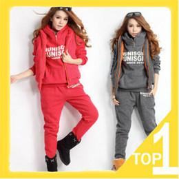 2014 New Hoodies Women's Winter Warm Hoodie Fleeces Korean Print Casual Sweatshirt Hoody Sports Clothing Set HOODIES & Vest & Pants W42