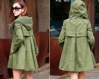 Wholesale Spring Autumn New Women Fashion Hooded Cotton Trench Coats Ladies Sexy Cloak Mid Long Wind Coat Girls Casual Loose Cape Dust Coats Overcoats