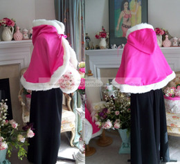 Wholesale Waist Length Bridal Cape with Hood inch Two Tone Hot Pink and White Satin Fur Wedding Cloak for Bride Winter Wedding Cape Wrap Shawl