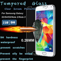 Wholesale Thin For Samsung Galaxy S3 S4 S5 Note Premium Tempered Glass Film Explosion Proof Screen Protector I9300 I9500 I9600 Retail Pack