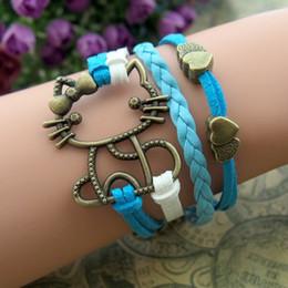 Bronze kitty cat heart fashion bracelets velvet cords leather handmade jewelry for men and women hy3298