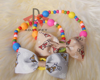 bee teddy - colorful candy wooden beads snowman bees satin butterfly bow pet dog collar puppy teddy cat kitty collar