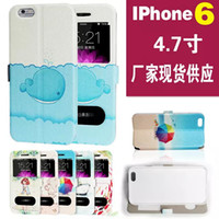 Wholesale Girl Boat Floral Rainbow Fish Clock Painted sculptures Caller ID Display Open Window Leather Wallet Pouch case For iphone G TH quot inch