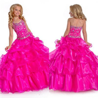 Wholesale 2016 Flower Girls Dress Custom Made New Arrival Fuchsia Halter Ball Gown Beaded Layers Organza Floor Length Long Girl Pageant Dress