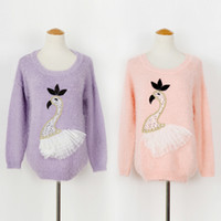 Wholesale Women Autumn Warm Knitted Pullovers Sweater Swan Pattern Soft Feather Yarn Jumper Long Sleeve FD012 Blouse
