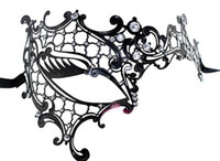 masquerade masks laser cut - Halloween Masquerade Party Metal Masks Luxury Diamond Rhinestone Costume Cosplay Laser Cut Half Face Sexy Mask Free DHL Factory Diect