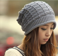 Wholesale New Autumn Winter Knitting Wool Hat for Women Caps Lady Beanie Knitted Hats Caps Triangle argyle Pattern White Grey Colour CP002