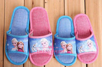 Wholesale 2014 Frozen Cute Slippers Elsa Anna Cartoon Slippers Kids Children Slippers Cheap In Stock Household Antiskid Breathable Sweat Slippers