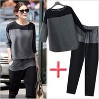 Cheap New Women's Cotton Chiffon Splicing Elastic Casual Autumn Suit Tops Color Block Crew Neck Loose T-Shirt Pants Set Plus Size