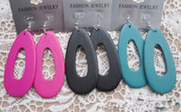 Wholesale Large droplets hollow wooden earrings EH00348