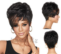 Wholesale Top quality kanekalon synthetic wigs short curly black hair wig for woman cheap price
