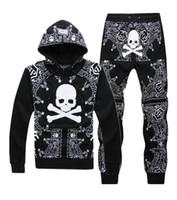 hooded sweat jackets - Philipp Plein PQ Man Tracksuits Skull Hiphop Hooded Zipper Jackets Slacks Sweat Pants Elastic Waist Black Grey Blue Colors Size M XXL