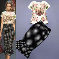 Wholesale Runway Dress Great High Quality Unqiue Vintage Ladies Baroque Flower Printed Slim Fit White Blouse and Black Dot Skirt in on Sale
