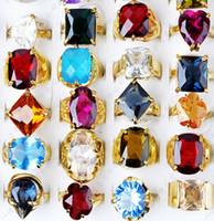 Wholesale Fashion Jewelry Vintage Ring Colorful Crystal Zircon Natural Stone Centre Rings Ancient Silver Gemstone Rings