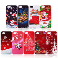 christmas trees wholesale - colorful Christmas Hard Back Cover Case Xmas tree New year Santa Claus Colorful Protection Christmas Gift for Apple iphone S