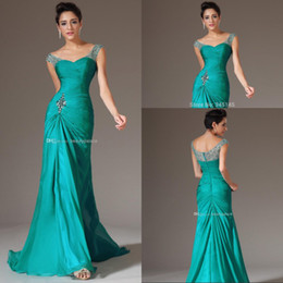 Sexy Design Mermaid V-neck Floor Length Prom Dresses Floor Length Turquoise Chiffon Bridesmaid Beaded Sequins Charming Evening Dresses