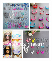 Cheap Wholesale-Free Shipping,40pcs girls toy gifts Crowns+Necklace+Hairpin+Sunglasses+Shoes doll accessories for barbie doll