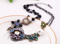 Cheap High Quality Women Luxury Costume Fashion Chunky Necklaces & Pendants Chokers Crystal Butterfly and flower Statement jewelry