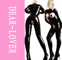 Wholesale Pant Sets Black Latex Catsuit Women Exotic Apparel Whispers Wild Flavor Splendid Jumpsuit LC9129 Cheap Price Drop Shipping