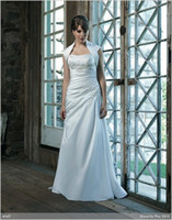 Cheap 2014 A-line Plus Wedding dresses Strapless Tight waist Ruches Appliques Sweep Train Lace-up Silk like Satin Garden Church Bridal Gown