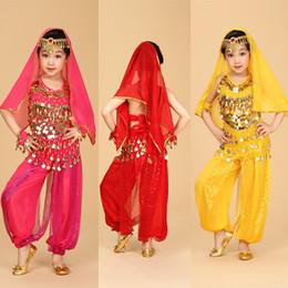 Wholesale 6pcs Top Pant Belt Bracelet Veil Head Chain Kids Belly Dance Performance Costumes Children s Dancing Wear Belly Dance Cloth Set