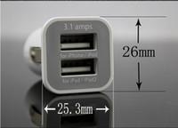 USAMS 3.1A 3100mha USB Двойной Автомобильное зарядное устройство 5V Dual 2 порта зарядное устройство для IPad iPhone 5 5S Ipod Itouch HTC Samsung автомобилей