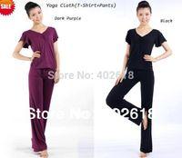 Wholesale Set Yoga clothes set Bamboo fiber fitness yoga set women Short sleeve set T Shirt Pants colors Size M L XL