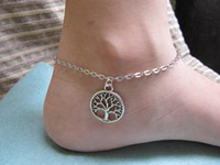 Wholesale the tree of life anklet fashion anklet Silver wish tree pendant alloy chain unique and beautiful gift for friends