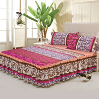 Cheap New Fashion Style 100% Cotton Bed Skirt Bedspread, 3pcs Bedding Set, Twin Queen Full Size Bedskirt Fitted Sheet