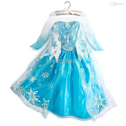 Wholesale New frozen dress Snowflake print sequins Gauze full sleeve popular baby girls dresses kids clothing