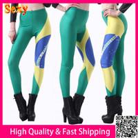 Cheap 2014 Summer Fitness Clothing For Women Brazil Flag Print Legging Pants Black Milk Sport Leggings Punk Jeggings Free Shipping