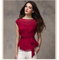 basic double - new summer and spring women blouses double layer basic shirt top slim short sleeve lace chiffon shirt Blouses Shirts