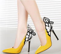 Wholesale 2014 Autum New Yellow And Black Women Sexy Heels Fantasy Butterfly Wings Sexy Fine Mixed Colors Shallow Mouth High Heels Shoes Eu35