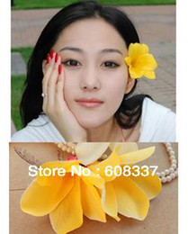 Wholesale-Free Shipping ,5pcs lot 7.5CM Plumeria rubra flower hair clip , hand-made flower , Silk flower ,artificial flower - 1.260x260