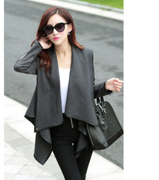 Wholesale HOT Winter Grey Navy Blue Woolen Overcoat Womens fashion Outerwear Trench CoatS