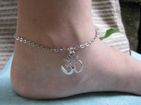 om pendant - OM Symbol anklet fashion anklet antique Silver Yoga Jewelry pendant alloy chain unique and beautiful gift for friends