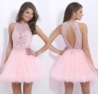 alexia prom dresses - 2014 illusion bodice Graduation Dresses crystals lace pink open back homecoming dress Cocktail party gowns Alexia Blush short Prom